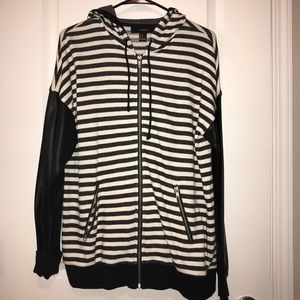 Forever 21 Black and White Strip Hoodie